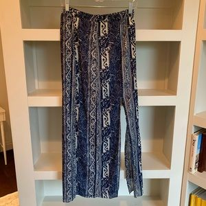 American Eagle Blue Navy + Whote Maxi Skirt w Slit